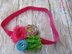 Pink, Teal, and Green Rolled and Shabby Flower Elastic Headband