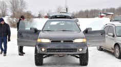 While walking around one of the spectator parking areas at last weekend's Sno*Drift Rally, we came upon this Subaru Legacy wagon. We have two questions: A) What the hell is going on here? Subaru Legacy Wagon, Subaru Wagon, Lifted Subaru, Subaru Baja, Wagon Cars, Expedition Truck, Car Racks, Honda Civic Si, Mitsubishi Lancer Evolution