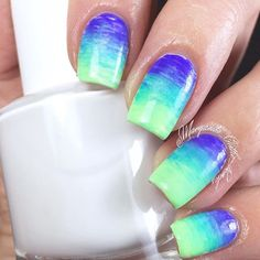 Purple, Turquoise, and Lime Green Gradient Nails