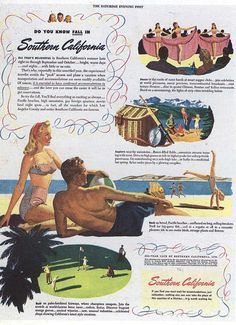 Advertisement for traveling to Southern California, 1940's