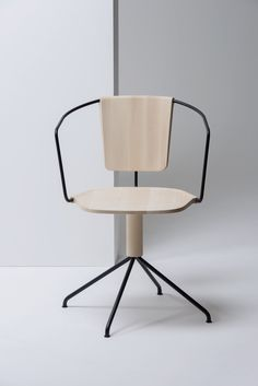white oak with matte black metal chair