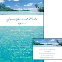 "Beach Wedding Ideas - This serene full-color invitation features a romantic ocean scene perfect for a destination or beach wedding!   5 1/8"" x 7 1/4"""