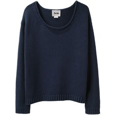 Acne Sapata Boatneck Sweater ($210) ❤ liked on Polyvore featuring tops, sweaters, jumpers, shirts, women, blue long sleeve shirt, boxy sweater, long sleeve jumper, blue top and longsleeve shirt