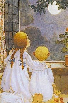 ''Star light, star bright, The first star I see tonight; I wish I may, I wish I might, Have the wish I wish tonight'' - Anne Anderson 1919 - Buttercup Bungalow Vintage Children's Books, Vintage Art, Vintage Moon, Nocturne, Good Night Moon, Art Themes, Children's Book Illustration, Book Illustrations, Moon Art