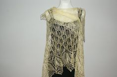Light yellow hand knitted linen shawl  summer  triangle by Anazie, $105.00