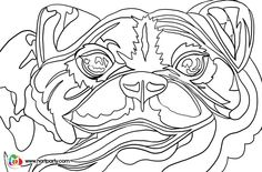 The Traceable coloring page Abstract colorful PUG for the full online youtube acrylic  art lesson. Easy painting idea  https://www.youtube.com/watch?v=x9NexuyO0xo