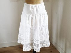 Skirt Embroidery Vintage Organic Cotton Underskirt Lace Skirt Delicate Embroidery on Tulle Hemstitching Know-how France Art flat Pleats 1920 Tulle, Motif Floral, Coton Bio, Antique Clothing, Pli, 1920s, Lace Skirt, Organic, Wedding Ideas