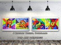#PopArt #Paintings #InstantDownload #DigitalPrints   #BearPainting #EaglePainting #St.BernardDog #MonkeyPainting #SmallPaintings #PrintableArt #Kidsroomart #HomeDecor by #JuliaApostolova Eagle Painting, Painting Abstract, Abstract Watercolor, Bear Paintings, Small Paintings, Kids Room Art, Printable Art, Monkey, Pop Art
