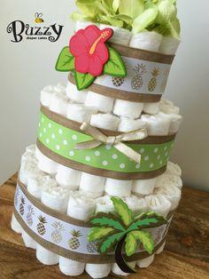 Tropical Diaper Cake, Beach Theme Baby Shower Centerpiece, Hawaiian Baby Shower Diaper Cake by BuzzyDiaperCakes on Etsy https://www.etsy.com/listing/470901813/tropical-diaper-cake-beach-theme-baby