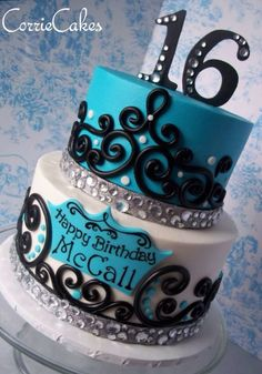 Aqua white black tier cake sweet 16