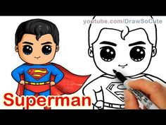 Drawing Superhero How to Draw Superman Man of Steel Cute step by step - Superman Drawing, Drawing Superheroes, Drawing Cartoon Characters, Character Drawing, Cartoon Drawings, How To Draw Superman, Chibi Superman, Chibi Marvel, Marvel Comics