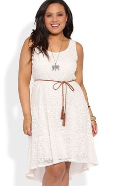 Deb Shops Plus Size Crochet Prairie High Low Dress with Faux Leather Belt $30.00