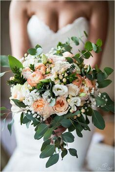 Peach English Garden Roses, Peach Ranunculus, White Lisianthus, White Gypsophila, Baby Blue Eucalyptus & Additional Greenery & Foliage
