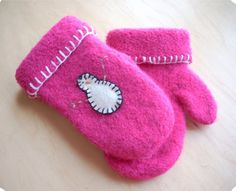 Felted Snowman Mittens Kid's sized Quick Easy Pattern PDF by MNCustomWoolens on Etsy