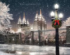 Christmas at Temple Square and the Salt Lake Temple. Fine art painting by Brent Borup.