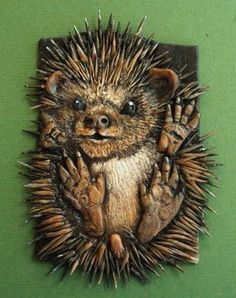 Hedgehog Polymer clay ACEO . .   Polymer clay and....toothpicks!  Such an adorable work of art.