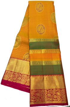 Yellow Handloom Kanjeevaram Silk   Saree