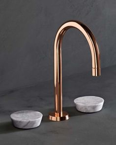 Watermark Collection copper and marble bathroom faucet