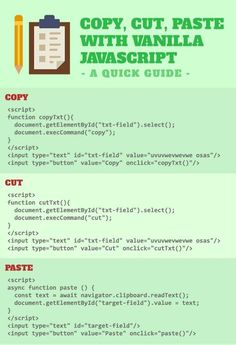 Cut copy paste with vanilla Javascript Learn Html, Learn To Code, Mobile Application Development, Web Development, Programming Languages, Web Languages, Computer Technology, Computer Science, Seo Tools