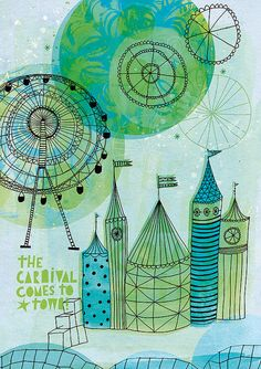 Carnival Comes to Town Art Print A4 8x11 by lovelysweetwilliam, $25.00