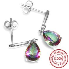 2ct Water Drop Genuine Rainbow Fire Mystic Topaz Drop Earring Only $29.99 => Save up to 60% and Free Shipping => Order Now! #Bracelets #Mystic Topaz #Earrings #Clip Earrings #Emerald #Necklaces #Rings #Stud Earrings