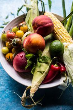 Thai Grilled Corn and Peach Quinoa Salad. Peach Quinoa Salad, Quinoa Rice, Large Salad Bowl, Salad Bowls, Fresh Basil Recipes, Fresno Chili, Half Baked Harvest, How To Cook Quinoa, Rice Vinegar