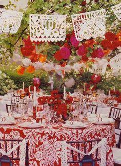 Mexican Themed Wedding. I love the papel picado.