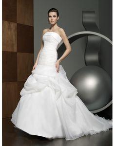 Strapless A-line Pleated Chapel Train Wedding Dress