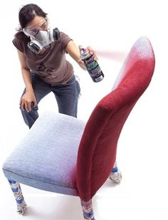 Fabric spray paint for my old couch cushions. (Is it durable?)
