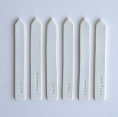 Ceramic Plant Markers | Set of 6 | White | XO Home | Mint | Rosemary | Basil | Sage | Thyme | Oregano | <3