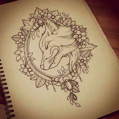Custom fox tattoo design- love the border!: