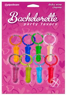 Buy Bachelorette Party Favors Dicky Wine Charms Assorted Colors 8 Per Pack online cheap. SALE! $11.49
