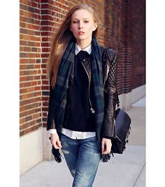 4 different ways to wear Leather Jackets.. Preppy look, match it with and button down shirt, plaid or plain, and for the ultimate shock button up the shirt and add a pair of reading glasses and oxfords