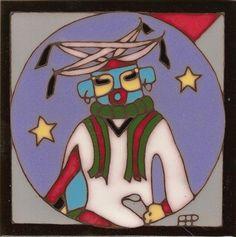 Hopi Kipok Kachina Hand Painted Ceramic Tile by PacificBlueTile, $29.95