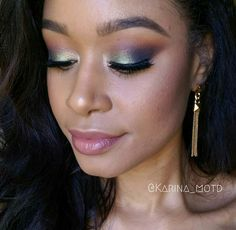 Makeup Geek Eyeshadows in Boo Berry, Duchess, and Morocco + Makeup Geek Duochrome Eyeshadows in I'm Peachless, Typhoon, and Voltage. Look by: Karina Vargas