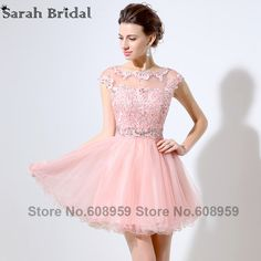 ea7a6cb9f77 Sexy Sheer Pink Short Homecoming Dresses 2017 Real Sample Crystal Lace  Appliques Prom Dress Party Rode De Soiree Vestidos LSX011