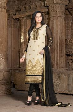 #Black & Cream #Cotton #Salwar #Kameez With A #Chiffon #Dupatta #EID #EIDcollection @mokshafashions