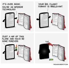 BOOKS vs eBOOKS~ Great cartoon to get a discussion going.