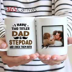 A personalized mug makes a great Father's Day or birthday gift for fathers. This custom gift is especially for people who have a step dad in their lives.  The ceramic coffee mug has the following statement written in permanent ink that doesn't peel off: I have two titles dad and stepdad and I rock them both. On the back of the mug, you can upload a picture of you with your father and siblings.  #fathersday #custom #mug #photo #stepdad #father #gift #ideas #siblings