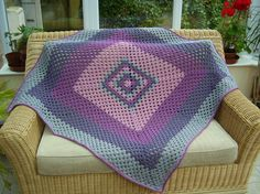 Contemporary Giant Granny Square Blanket or Thr... - Folksy