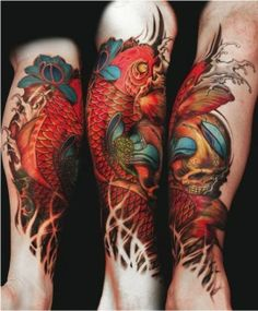 Skull and koi leg piece #skull #koi #leg #tattoo #tattoos #tattooed #inked #ink #InkedMagazine