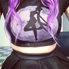 Sailor Moon black crop top + black skirt. Pastel Goth.