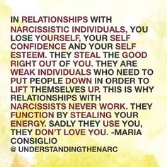 """UNDERSTANDING THE NARC on Instagram: """"People are always asking, can relationships with narcissistic individuals ever work. No they could never work because they are using you.…"""" Narcissist Quotes, Relationship With A Narcissist, Relationships, Dont Love, Love You, Evil People, Gaslighting, Narcissistic Abuse, I Survived"""