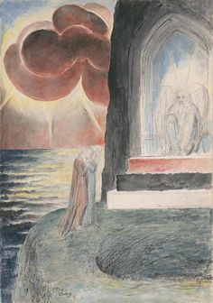Dante and Virgil Approaching the Angel Who Guards the Entrance of Purgatory (From Illustrations to Dante's Divine Comedy) by William Blake, 1824 - 1827 Dante Alighieri, Dante's Purgatory, Illustrations, Illustration Art, Red Lake, English Poets, Ciel, Art Database, Great Artists
