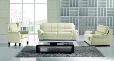"""New 3pc Contemporary Modern Leather Sofa Set #AM-832-A-IVORY by UTM. $2399.00. * All of the seats and backs are high density (1.9) foam to give comfort and support. * All corners are """" blocked"""", nailed and glued for strength and durability. UTM 3 pcs contemporary modern leather sofa set will include ONE sofa + ONE love + ONE CHAIR. * It is made of 100% selected premium soft bonded leather. * Solid wood frame use in the sofa construction. Available Colors See abov..."""