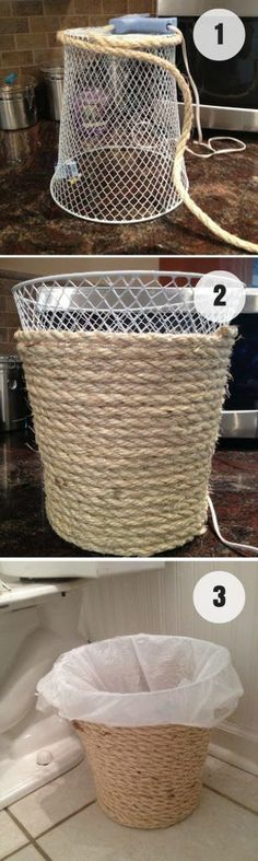 Dollar store trash can makeover. Click on image to see more easy DIY crafts for your home.