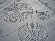 Snow Drawings by Sonja Hinrichsen in Rabbit Ears Pass, Colorado. Done January 29th by Sonja and 5 volunteers.