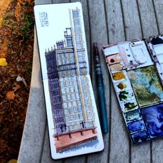 Wrigley Building Ink and watercolor Moleskine watercolor notebook