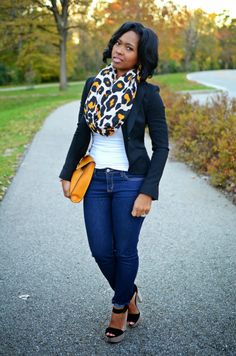 """Outfits ~ """"Sweenee Style"""",stylish closet, love this leopard scarf! Curvy Fashion, Look Fashion, Plus Size Fashion, Girl Fashion, Fashion Outfits, Womens Fashion, Fashion Trends, Fashion 2014, Fashion Fall"""