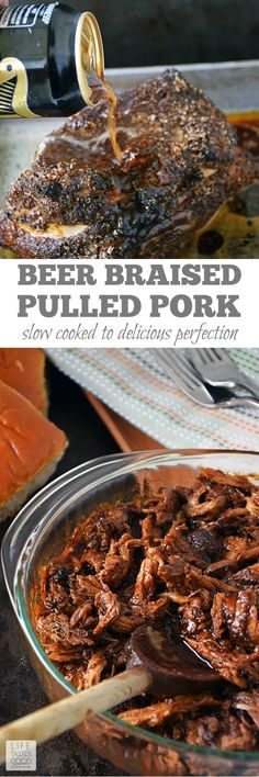 Cook up a big batch of this fork tender, slightly spicy barbecue Beer Braised Pulled Pork by Life Tastes Good. Enjoy the deep, rich flavor for dinner as a sandwich or even over rice. Then save the leftovers for various recipes throughout the week. Beer Recipes, Slow Cooker Recipes, Crockpot Recipes, Cooking Recipes, Guinness Recipes, Cooking With Beer, Pork Dishes, Foodies, Good Food